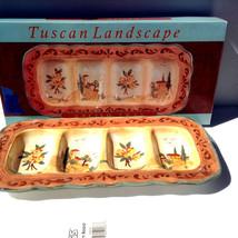 Tuscan Landscape Relish Tray Beautifully Handpainted Ceramic Pamela Glad... - $49.95