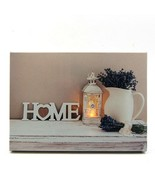 Country Home Lantern Vase LED Light Up Lighted Canvas Wall or Tabletop P... - $20.89
