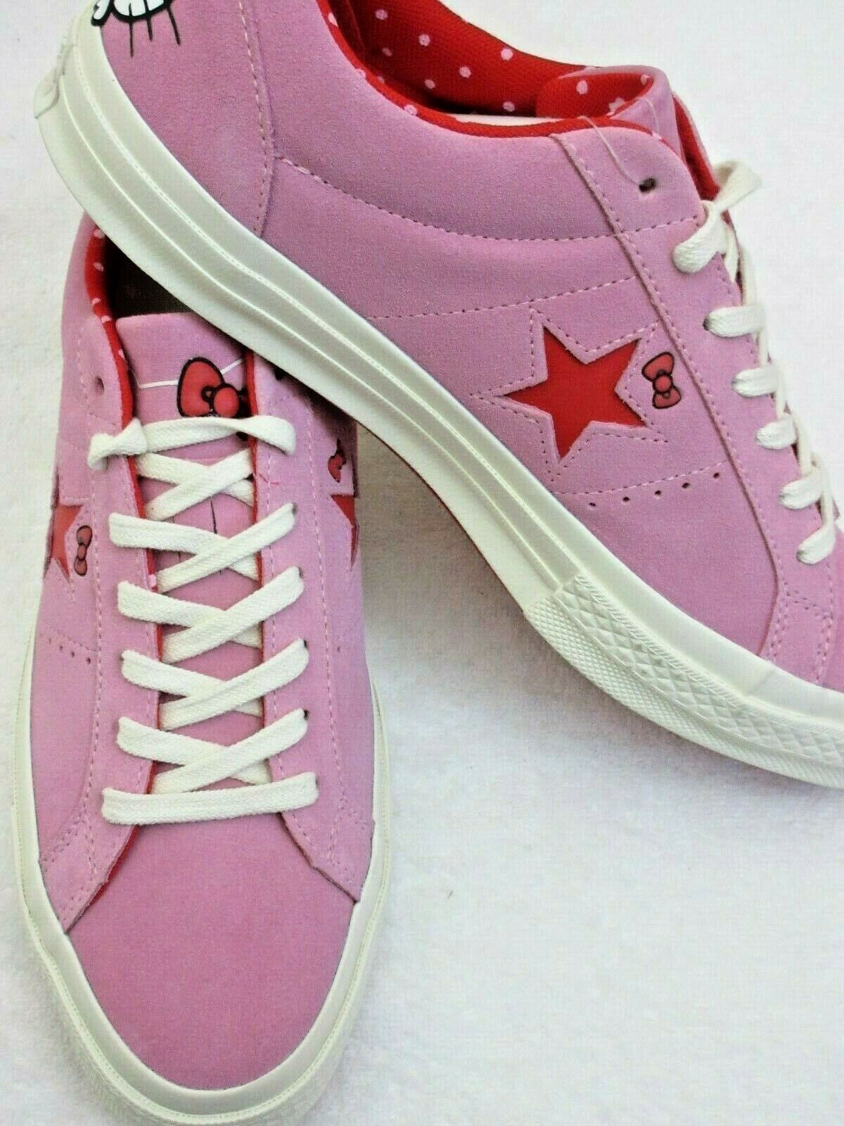 Converse One Star Ox Mens Hello Kitty Pink Prism Red Suede Shoes Size 10 New  image 5