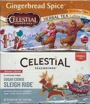 Lot of 2 Gingerbread Sugar Cookie Celestial Seasonings Herbal Tea Caffei... - $19.79