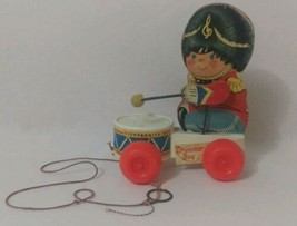 VINTAGE ANTIQUE PAPER LITHO WOOD MECHANICAL PULL TOY DRUMMER BOY  - $31.19