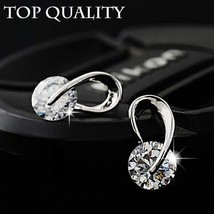17KM® Austria Crystal Wedding Silver Color Zircon Stud Earrings Fashion ... - $3.89