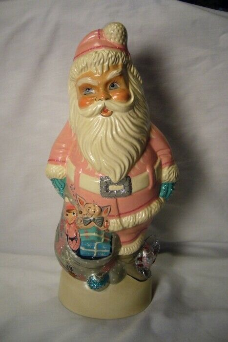 Vaillancourt Folk Art, 1950's PINK  Santa Collector Wknd personally signed Judi!