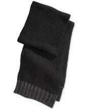 NEW MENS ALFANI SOLID KNIT BLACK / GRAY WINTER WARM SCARF - £13.03 GBP