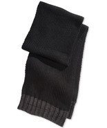 NEW MENS ALFANI SOLID KNIT BLACK / GRAY WINTER WARM SCARF - $16.99
