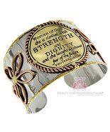 Woman of God Proverbs 31 Laugh Flower Strength Dignity Tri Tone Cuff Bra... - $27.50