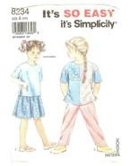 Simplicity 8234 Child's Shirt, Pants & Skirt Size 2,3,4,5,6,6X UNCUT FF - $8.47