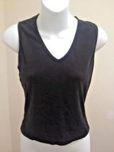 Velvet S Tank Top Black Cotton V Neck Shirt - $8.80