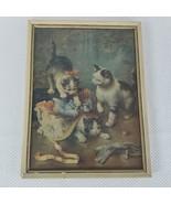Vintage Framed C Reichert Mischievious Kittens Cat Print 13 X 10 - $37.09