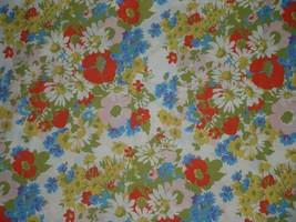 Vintage Erwin Mills No Iron Muslin Floral Full Flat Sheet 81 x 104 - $28.04
