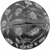 Judaica Kippah Gray Brocade Silver Pomegranate Embroidered Yarmulke Yamaka 20 cm