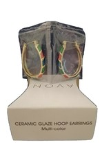 Avon Ceramic Glaze Hoop Earrings Multi Colored - $16.00