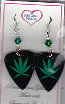 HANDMADE POT LEAF GUITAR PICK EARRINGS Made with Swarovski Crystals