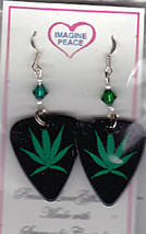 HANDMADE POT LEAF GUITAR PICK EARRINGS Made with Swarovski Crystals  - $9.99