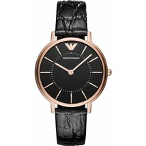 Emporio Armani Ladies Classic Gold Dial Black Leather Strap AR11064 Womens Watch - $139.80