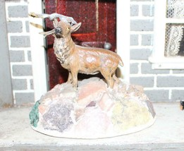 Vintage Putz Deer Standing on Rocks Metal for a Christmas Village - $39.90