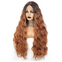 Long Wavy Lace Front Wigs For Women 24 Inch Deep Wave Wig Ombre Brown Synthetic