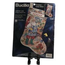 Bucilla Christmas Stocking Counted Cross Stitch Kit Gardening Santa 83686 - $69.20