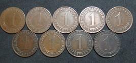 GERMANY 1 RENTENPFENNIG AND REICHSPFENNIG 9 COINS 1924 A - J  WEIMAR RAR... - $55.78