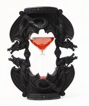 7.38 Inch Black Dual Dragon Sand Timer Hourglass Statue Figurine - $25.98