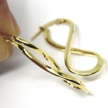"18K YELLOW GOLD PENDANT EARRINGS ONDULATE BIG INFINITE 3.5cm, 1.38"" INCHES image 3"