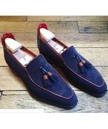 Handmade Men elegant Suede Tassels shoes, Men Navy blue Driving Shoes, M... - $169.99