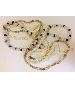 Beaded Necklaces Seashell Shells Beads Pearl White Black Brown Vintage L... - $32.00