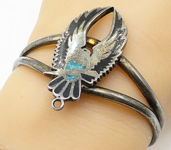 G&S 925 Silver - Vintage Black Onyx & Turquoise Eagle Cuff Bracelet - B4873 - $92.66