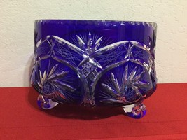 """Cobalt Blue Cut To Clear Crystal Bowl  Made in Poland 6''/10"""" - $275.00"""