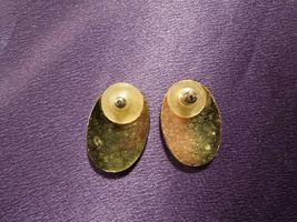 Vintage Enamel Gypsy Fortune Teller Face W/ Scarf Over Eye Oval Stud Earrings image 5