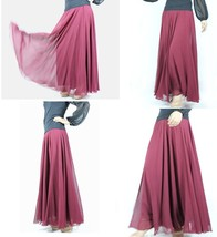 Pink MAXI CHIFFON SKIRT Women High Waisted Chiffon Maxi Skirt Plus Size image 13