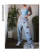 BOOFEENAA Butterfly Print Gray Sweatpants Women High Waisted Harem Pants... - $36.05