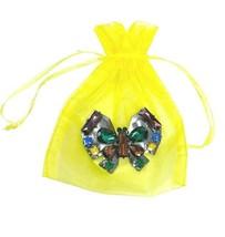 "2.75"" Wide Multicolor Rhinestones Stylized Butterfly Statement Brooch Pin  - $16.15"
