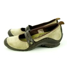Merrell Plaza Bandeau Tan Taupe Brown Wedge Mary Jane Shoes Size 7 - $13.99