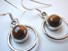 TIGERS EYE Sphere in Circle Hoop Silver Dangle Earrings - $17.70
