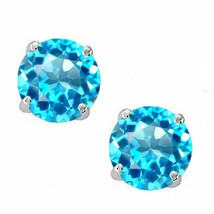 0.50 CT 4mm 14K Solid White Gold Blue Topaz Round Shape Push Back Stud E... - $31.18