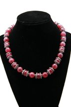 Pink Jade Beaded Necklace - $35.00