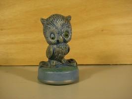 Ceramic Cute Miniature Winking Sleepy Blue Owl Handpainted Figurine - $8.25