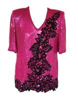 80s Frank Usher 100% Silk Hot Pink Magenta Black Flower Branch Holy Berr... - $39.00