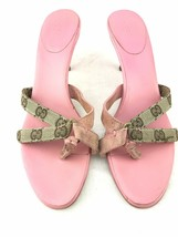 GUCCI High Heel Mule Sandals Women 7 1/2 B Canvas Signature GG Logo Pink... - $153.05