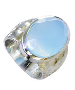 Natural Design Blue Chalcedony Oval Shape 925 Sterling Silver Ring  UBC23-5 - €42,75 EUR