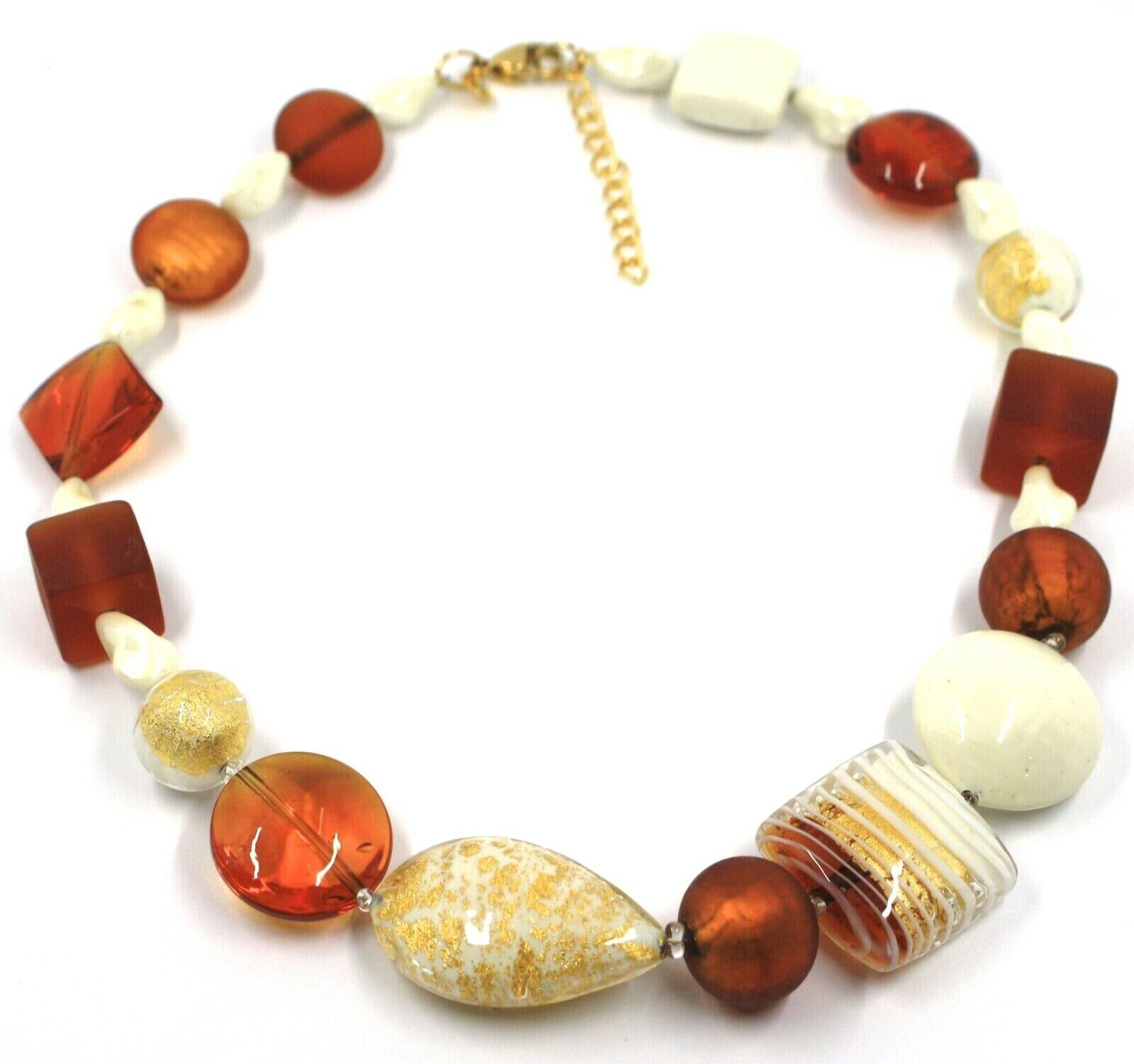 NECKLACE ORANGE WHITE SPHERE SQUARE DROP MURANO GLASS GOLD LEAF SPIRAL ITALY