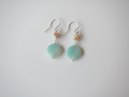 Amazonite Dangle Earrings, Sea Sediment Jasper, Natural Gemstones - $18.00