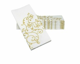 Simulinen Dinner Napkins ? Gold & White ? Decorative Cloth Like &  Gold ... - $39.26
