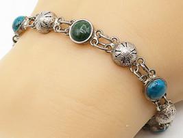 925 Silver - Vintage Cabochon Cut Blue & Green Turquoise Chain Bracelet ... - $42.19