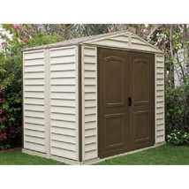 Outdoor Vinyl Storage Shed Garden Cabinet Container 8 x 6 Ft Steel Backy... - $1,193.56