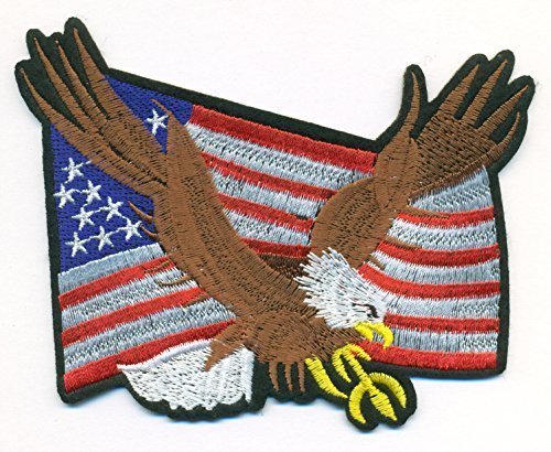 Bold Eagle and American Flag Proud Embroidered Iron On Patch for Hat Jersey 4 1/