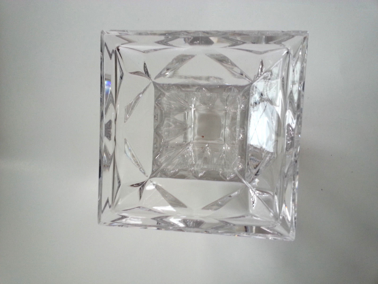 Crystal Candle Holder Flower Vase Square Quad Prism PartyLite P7374 Tall 7""