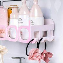 Corner Storage Wall Mounted Plastic Suction Bathroom Shelf Storage Basket Holder image 3