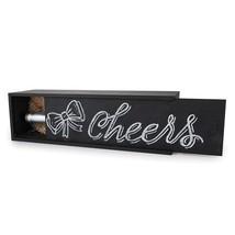 Wine Bottle Box, Black Chalkboard Pine Wooden Box For Wine Gifts - Single - $22.39